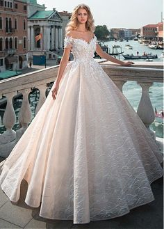 Buy discount Gorgeous Lace Off-the-shoulder Neckline Ball Gown Wedding Dress With Lace Appliques & 3D Flowers & Beadings at Dressilyme.com
