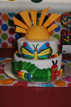 Awesome cake at a Very Hungry Caterpillar party!   See more party ideas at CatchMyParty.com!