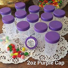 15 PARTY JARS Purple Lid Cap Plastic Pill Bottle 2 oz Container #K4314 DecoJars