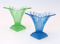 A range of classic Art Deco glass vases by Walther and Sohne. Circa 1930. (green and blue vases shown in image). Offered by Renato at Alfies Antiques.