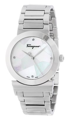 """Salvatore Ferragamo Women's FG2040013 """"Grande Maison"""" Stainless Steel Watch with Diamonds. Stainless steel watch with four diamond hour markers and mosaic-style mother-of-pearl dial. Ronda 763 Swiss quartz movement with analog display. Protective anti-reflective sapphire crystal dial window. Features link bracelet and deployment clasp with push-button closure. Water resistant to 165 feet (50 M): suitable for swimming and showering."""