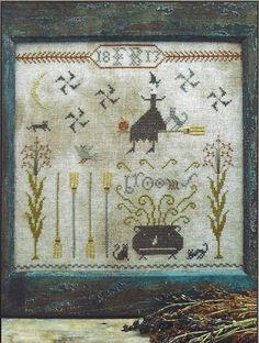 Primitive Folk Art Cross Stitch Pattern  FANCEY by PrimFolkArtShop, $11.75