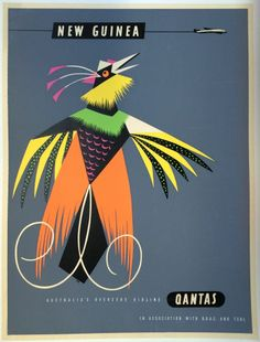 Original Travel Poster Qantas New Guinea Harry Rogers Silk Screen Vintage Art #Vintage