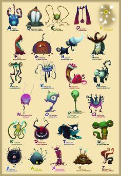 Monster alphabet poster.