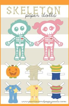 Free Halloween printables featuring skeleton paper dolls. So fun!