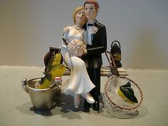 Wedding Cake Topper Gone Fishin Fishing Pole Tackle Box Groom