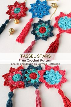 15 Minute Tassel Christmas Stars - Knit And Crochet Daily 15 Minute Tassel Christmas Stars- Free Crochet Pattern Always aspired to figure out how to knit, but not certain the pla. Crochet Christmas Decorations, Crochet Decoration, Christmas Crochet Patterns, Holiday Crochet, Christmas Knitting, Crochet Gifts, Diy Crochet, Crochet Hooks, Crochet Baby