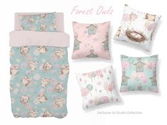 For a mix of Pink and Blue, our exclusive Forest Owls is perfect for a unique little girl's owl theme nursery!