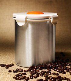 """BeanSafe """"The Coffee Storage Solution"""", Stainless Steel-WHITE by Regency Products International, Inc.. $24.99. Scoop included. Stores up to 16-Ounces of Whole or Ground Coffee. Valve is dishwasher safe and never needs replacement. Made of Stainless Steel & Food Grade BPA Free Polypropylene Lid. Unique one-way valve that preserves freshness of whole, roasted and ground coffee beans. BeanSafe® has a patented one-way Pressure Release Valve that keeps out air and moisture while perm..."""