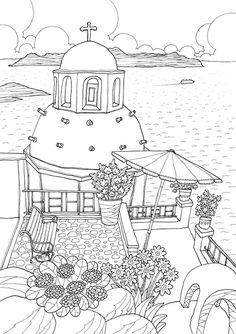 Coloring Europe: Magical Greece: A Coloring Book Tour of Greek Lifestyle and Culture Free Adult Coloring, Adult Coloring Book Pages, Printable Coloring Pages, Coloring Sheets, Coloring Books, Food Coloring Pages, Colorful Drawings, Colorful Pictures, House Colouring Pages