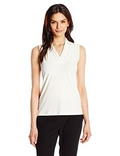 Anne Klein Women's Triple Pleat Neck Knit Top, White, Large  Special Offer: $20.99  444 Reviews This classic triple pleat neck Anne Klein knit is your go to closet staple to throw under a jacket or cardiganSleeveless top in stretch knit featuring V-neckline with folded pleat...