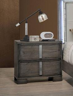 Edgewater Gray Solids Mindy Veneer Nightstand