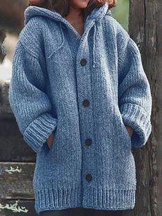 Cardigan Style, Chunky Cardigan, Loose Sweater, Sweater Coats, Sweater Hoodie, Long Sleeve Sweater, Sweater Cardigan, Cardigan Plus Size, Cardigan En Maille