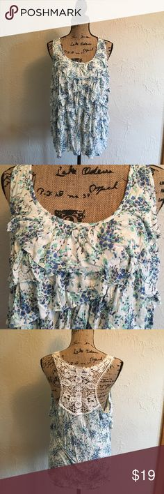 Ruffled tank top This is so cute! Flowery print with ruffles. Back has beautiful lace design. Great condition!! LC Lauren Conrad Tops Tank Tops
