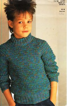 """childrens rib polo neck sweater knitting pattern pdf childs roll neck jumper 32-32"""" DK light worsted 8ply pdf instant download by Minihobo on Etsy"""