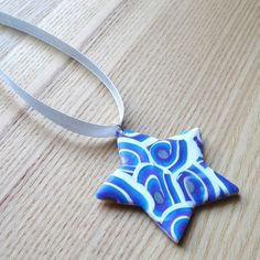 Blue Skies Star FIMO Polymer Clay Pendant £6.50