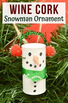 Wine cork snowman ornaments are an easy Christmas craft project great for adults and children alike. Plus, they are a great way to upcycle old wine corks! #ChristmasCrafts #ChristmasCraftsDIY #WineCorkCrafts #SnowmanCrafts #DIYOrnaments #ChristmasDIY #ChristmasOrnaments #CraftsForKids #EasyDIY