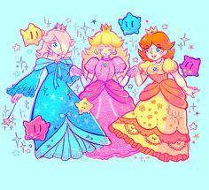 Rosalina, Daisy, Peach and Five Lumas.