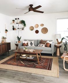 Wow, it's been a crazy week but all I can think of besides maybe taking a little nap 😅 is how grateful I am to be busy in this little… 2020 Living Room Design Ideas Interior, Apartment Living Room, Boho Living Room, House Interior, Apartment Decor, Living Room Ceiling, Living Room Ceiling Fan, Rugs In Living Room, Living Room Designs