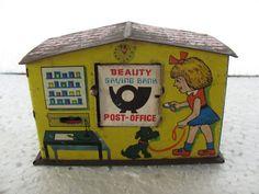 Old Litho Print Post Office Money Bank Tin