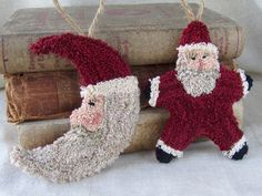 This pair of punch needle Santa ornaments will punch up quickly for you and add some fun to your Christmas decorating! **Punch Needle Pattern is a .pdf file ~ see below if you prefer a paper pattern.** When finished, they measure approximately 4 1/2 x 4. Pattern includes: Printing instructions Patterns for both ornaments floss color list & quantity needed ~ This pattern uses both DMC and Valdani flosses. Color Photo Finishing Instructions DOWNLOADING After payment, Etsy will send y...