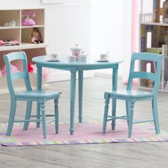 Have to have it. Classic Playtime Spindle Table with Optional Spindle Chairs - Teal - $119.99 @hayneedle