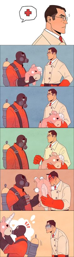 The medic's face and the pyro's tears. :P Tf2 Funny, Funny Memes, Cute Comics, Funny Comics, Fan Art, Tf2 Pyro, Tf2 Scout, Team Fortress 2 Medic, Tf2 Memes