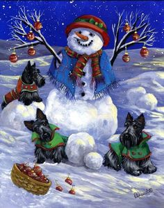 Scottish Terrier Snowman by Suzanne Renaud