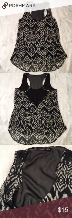 L Chiffon Muscle tank design print Racer back Has inside slip also. Super Silky soft and comfy. Fits L/XL Caramela Usa Tops Tank Tops