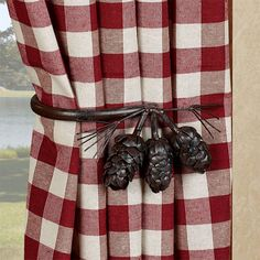 Keep your favorite drapes hanging neatly with the Pine Cone Decorative Curtain Holdback Pair. These metal accents are handcrafted and have a handpainted brown powder-coat finish. Rustic Curtains, Country Curtains, Green Curtains, Window Hardware, Lodge Style, Lake Cabins, Log Homes, Curtain Rods, Pine Cones
