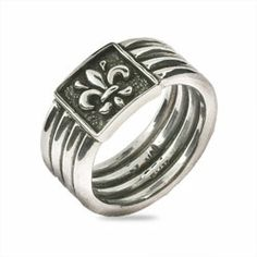 Four Band Fleur de Lis Ring in Sterling Silver, $74