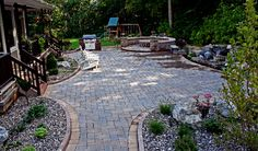 Interlocking paving stone patio, build using cambridge pavers with armorTec, custom fire pit and outdoor gill, plasantvalley ny