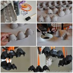 Make a magnificent recycled decoration this hallowen with a .- Make a magnificent recycled decoration this hallowen with an egg box. Crafts For Teens To Make, Halloween Crafts For Kids, Diy For Teens, Halloween Decorations, Teen Homemade, Homemade Halloween, Adornos Halloween, Manualidades Halloween, Halloween Party Appetizers