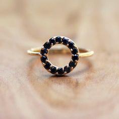 Black Diamond Circle Ring  Eliza Page