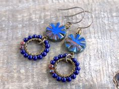 Indigo Circles  Wire Wrapped Earrings. by GillsHandmadeJewels