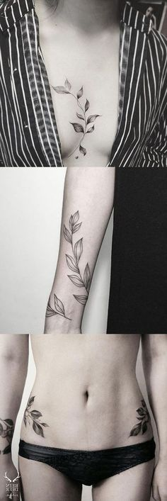 Black and white large flower leaf sternum tattoo - vine arm sleeve hip tat - mybodiart Vine Tattoos, Leaf Tattoos, Body Art Tattoos, Sleeve Tattoos, Tatoos, Flower Arm Tattoos, Tattoos Tribal, Sternum Tattoos, Nature Tattoo Sleeve