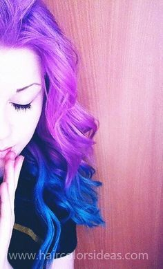 blue and purple ♥ One day I want to pick some crazy color and dye my hair that. Dyed Hair Purple, Dye My Hair, Pink Hair, Blue Ombre, Color Fantasia, Dipped Hair, Beautiful Hair Color, Hair Creations, Creative Hairstyles