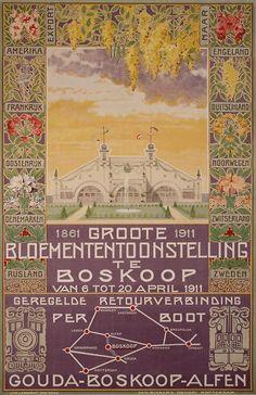 What a wonderfully designed poster.  'Groote Bloemententoonstelling te Boskoop' - Jan Bikkers. Source: Het geheugen van Nederland.