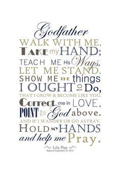 DIGITAL FILE: Godfather Gift, Godmother Gift, Baptism Gift for Godparents, Godparent Gift, 5x7 Print