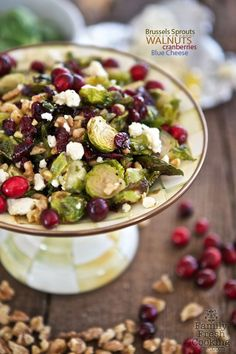Maple Roasted Brussels Sprouts with Walnuts, Blue Cheese & Cranberries | MarlaMeridith.com