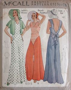 Ladies and Misses beach pajamas, Eton & hat. Copyright 1931.