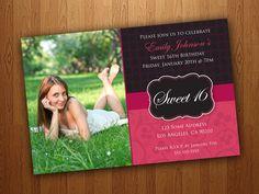 Printable Sweet 16 Invitations / Sweet Sixteen Invitations - Pink & Black. $11.95, via Etsy.