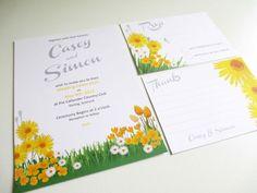 PRINTABLE Yellow Spring Wedding Invitation Suite by VanillaRetro, £35.00