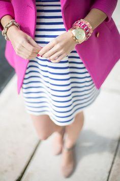 Crew Pink Coat // Zara Striped Dress // Jeffrey Campbell x Free People Shoe. Preppy Mode, Preppy Style, Style Me, Look Fashion, Womens Fashion, Teen Fashion, Fashion Beauty, Looks Style, Mode Inspiration