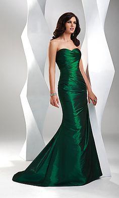 Slim forest green dress.