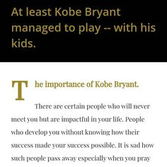 Kobe Bryant, Self Help, At Least, Rest, Success, Play, How To Make, Kids, Instagram