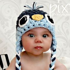 Baby Bird Beanie - Earflap Hat CROCHET PATTERN. $5.00, via Etsy....and how adorable is this little face?!