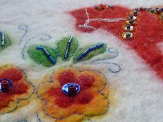 Dala Horse Wallhanging - Handfelted and embroidered Shetland Wool, Wet Felting, Merino Wool, Scandinavian, Glass Beads, Horses, Embroidery, Create, Handmade