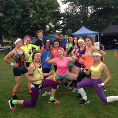 Our Relay For Life 2015 team for cancer society! We are 3hrs into the event, dressed to our 80's aerobic theme, you can't miss us on the track!
