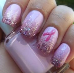 Breast cancer awareness check out www.ThePolishObsessed.com for more nail art ideas.